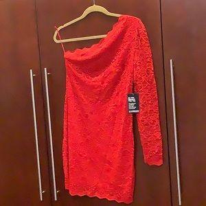 Lace one shoulder puff sleeve sheath dress